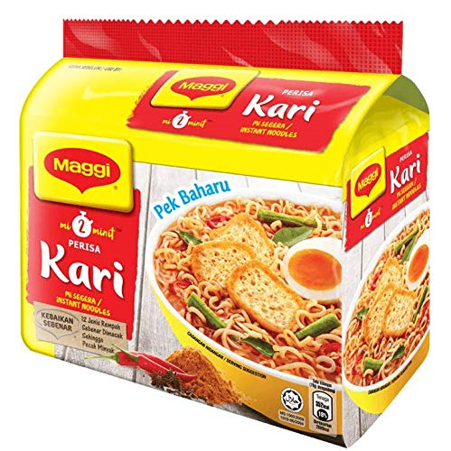 Maggi Nestle Malaysia 2 Minute Instant Curry Flavour Masala Noodles 5 Packs x 79g Kari Spicy Pedas Mee Chili Soup