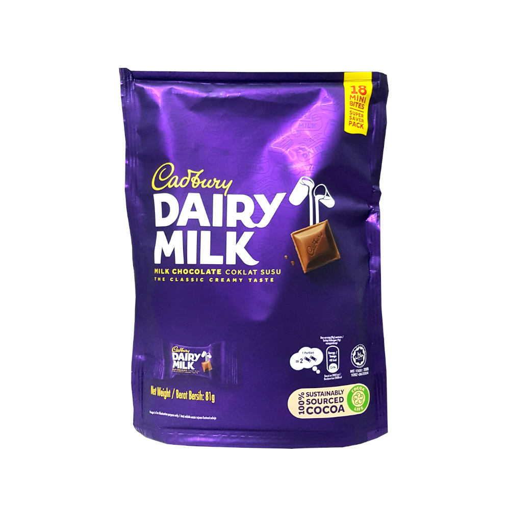 Cadbury Dairy Milk Chocolate 18 Mini Bites Pouch (81g)